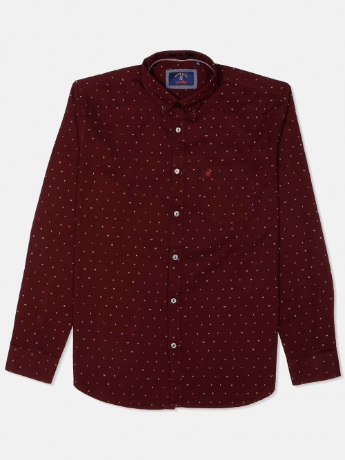 River Blue Maroon Printed Casual Shirt