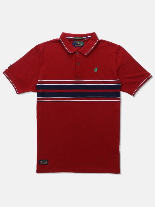 River Blue Maroon Stripe Slim Fit T-shirt