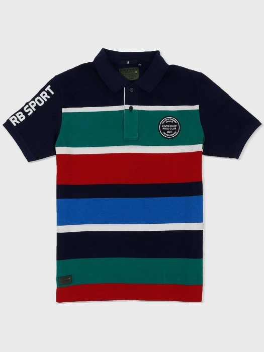 River Blue Navy Hue Stripe Slim Fit T-shirt