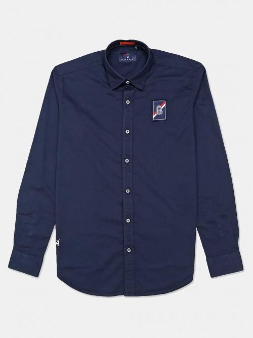 River Blue Navy Slim Fit Solid Mens Shirt