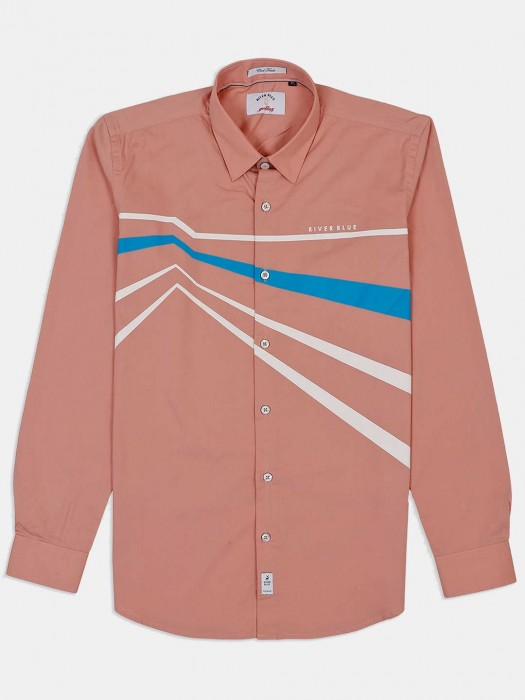 River Blue Peach Stripe Shirt