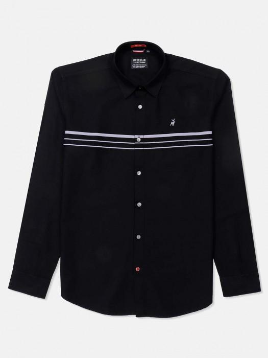 River Blue Presented Black Solid Shirt