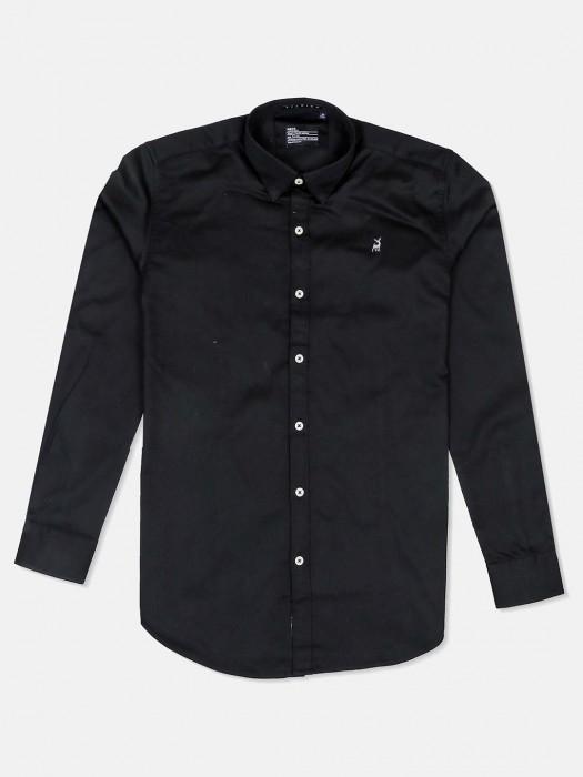 River Blue Presented Solid Black Shirt