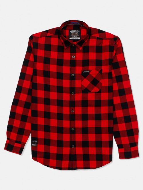 River Blue Red And Black Checks Cotton Shirt