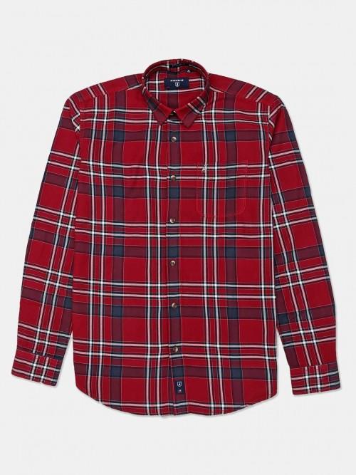 River Blue Slim Collar Maroon Checks Shirt