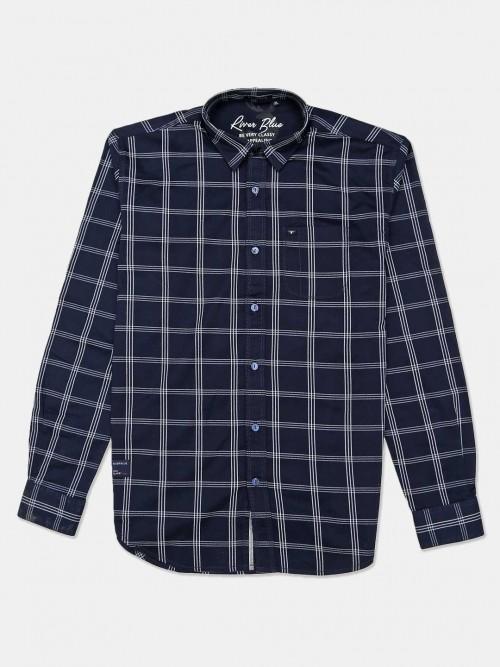 River Blue Slim Collar Navy Checks Mens Shirt