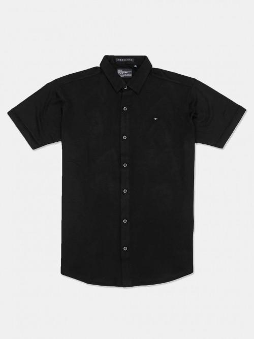 River Blue Slim Collar Solid Black Shirt