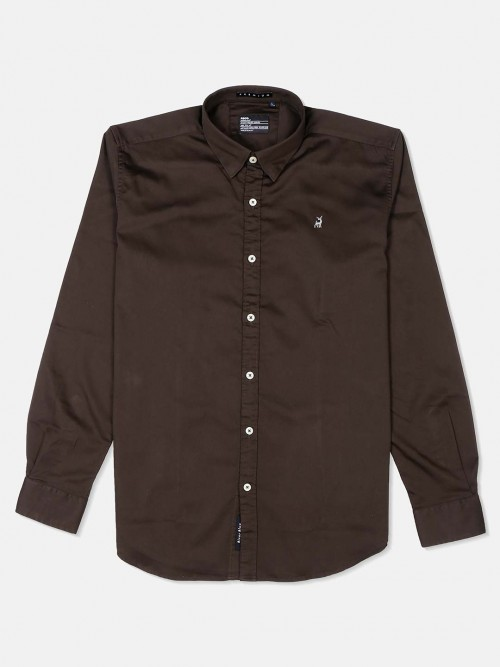 River Blue Solid Coffee Brown Cotton Shirt