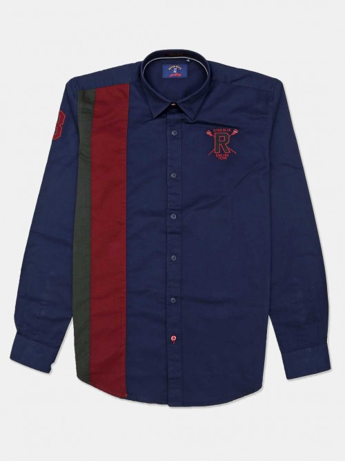 River Blue Solid Navy Casual Shirt For Mens