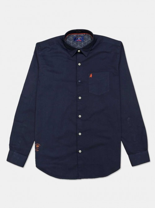 River Blue Solid Navy Cotton Casual Mens Shirt