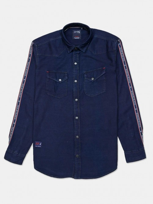 River Blue Solid Navy Cotton Casual Shirt