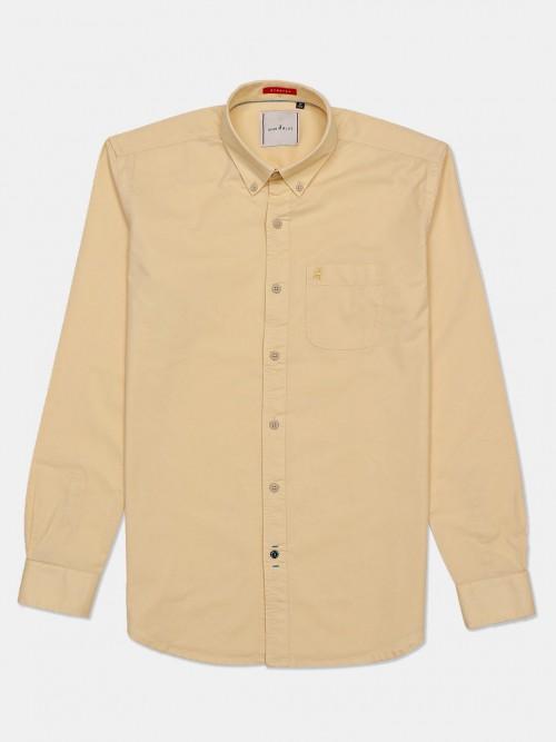 River Blue Solid Slim Fit Casual Lemon Yellow Shirt