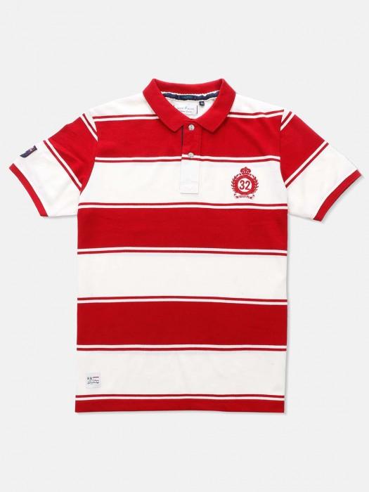 River Blue Stripe Red White Cotton T-shirt