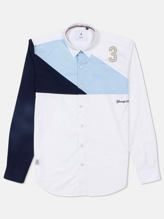 River Blue White And Navy Solid Shirt