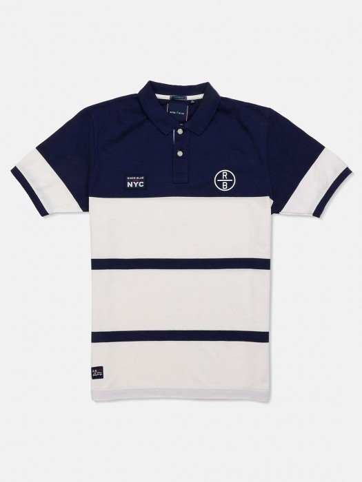 River Blue White And Navy Stripe T-shirt