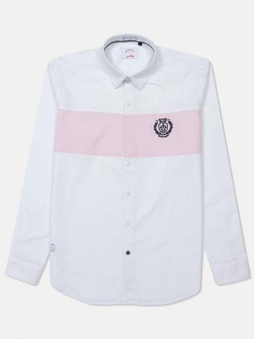 River Blue White Cotton Solid Shirt