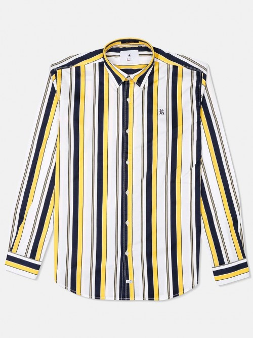 River Blue Yellow And Navy Stripe Casual Shirt