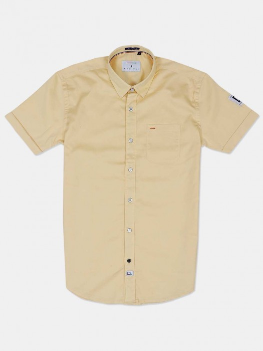 River Blue Yellow Solid Patch Pocket Shirt
