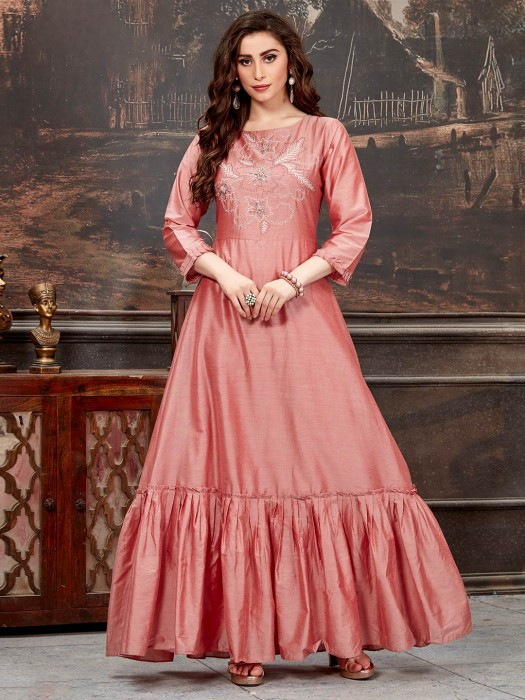 Rose Pink Cotton Silk Tunic For Festive Wear