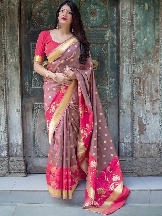 Rose Pink Designer Semi Silk Saree
