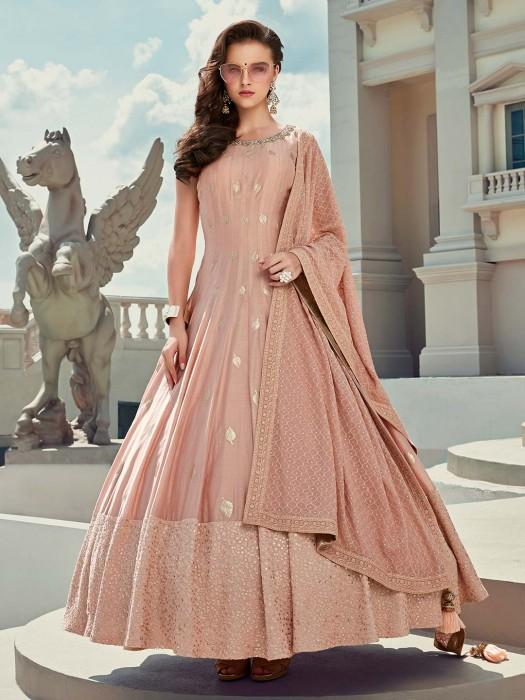 Rose Pink Foil Printed Cotton Silk Anarkali Salwar Kameez