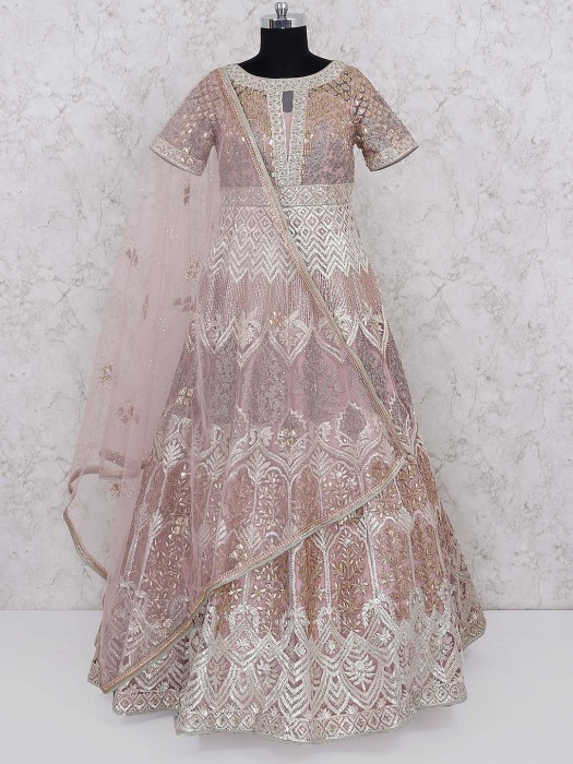 Rose Pink Gown In Net Fabric