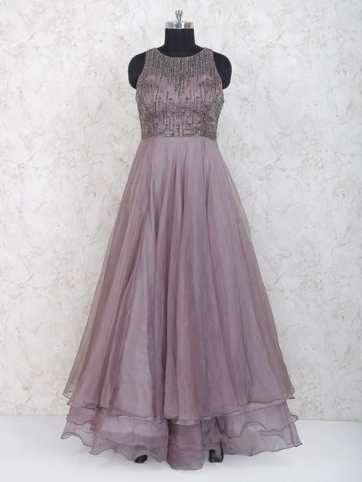 Rose Pink Tissue Silk Layered Style Anarkali Suit