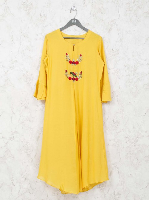 Round Neck Yellow Tunic