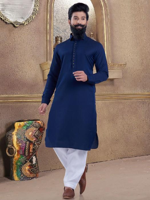 Royal Blue Color Simple Pathani Suit