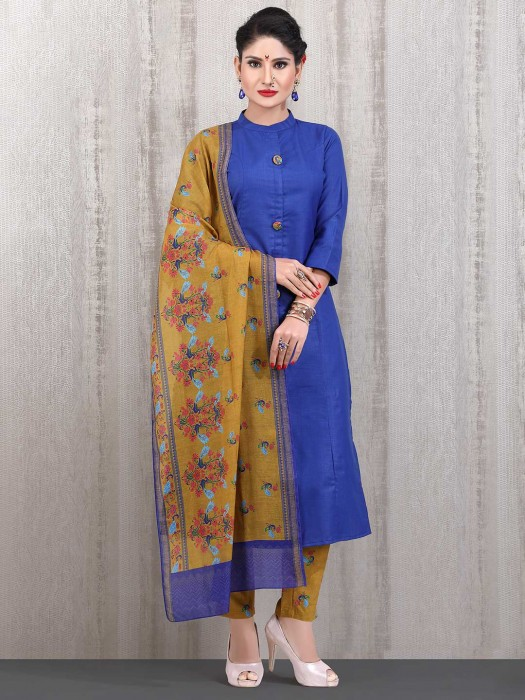 Royal Blue Cotton Casual Wear Straight Cut Punjabi Pant Suit
