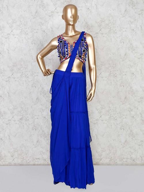 Royal Blue Designer Indo Western In Georgette