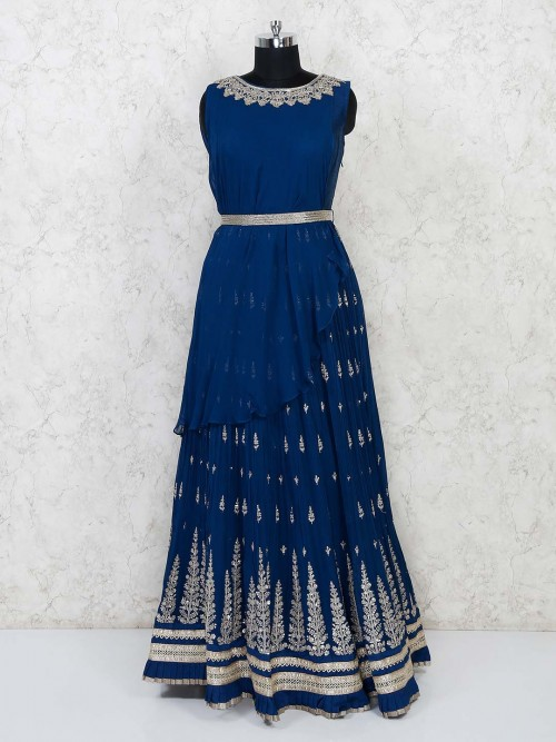 Royal Blue Georgette Anarkali Suit