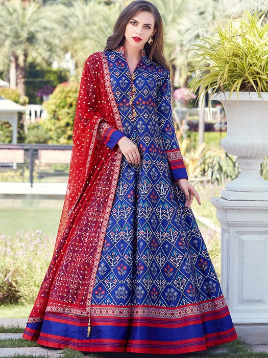 Royal Blue Patola Silk Floor Length Anarkali Suit