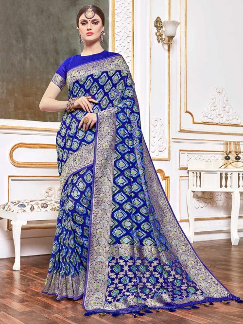 Royal Blue Saree In Bandhej Georgette
