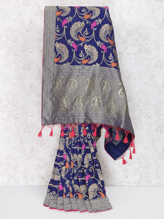 Royal Blue Saree In Muga Silk