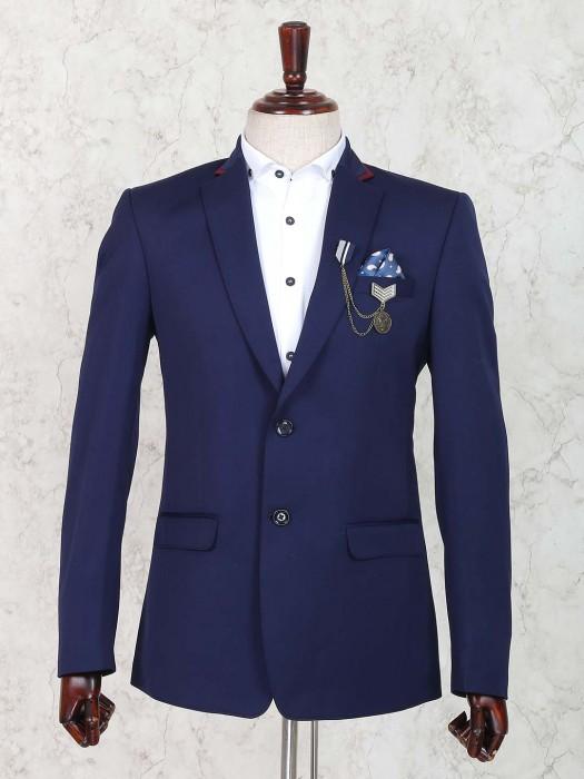 Royal Blue Solid Terry Rayon Blazer