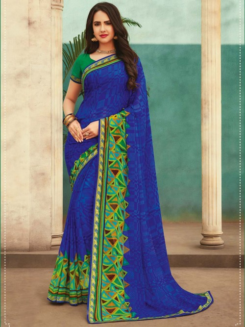 Royal Blue Stylish Printed Saree In Georgette