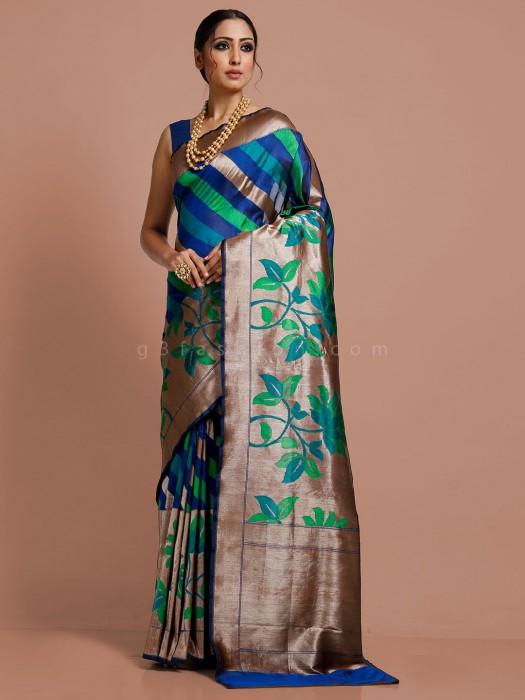 Royal Blue Thread Zari Weaving Banarasi Silk Saree