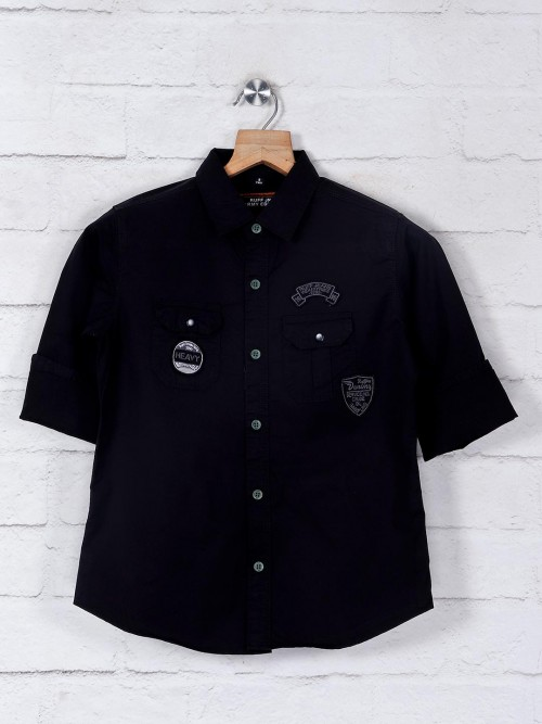 Ruff Boys Black Solid Shirt