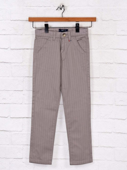 Ruff Cotton Casual Wear Stripe Grey Trouser