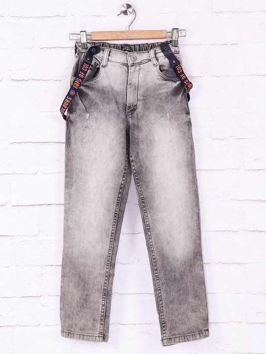 Ruff Grey Color Washed Solid Jeans