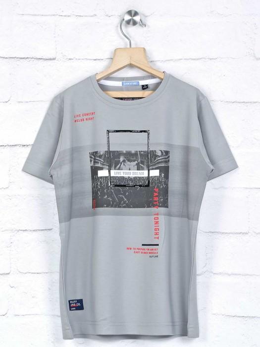 Ruff Grey Printed Round Neck T-shirt