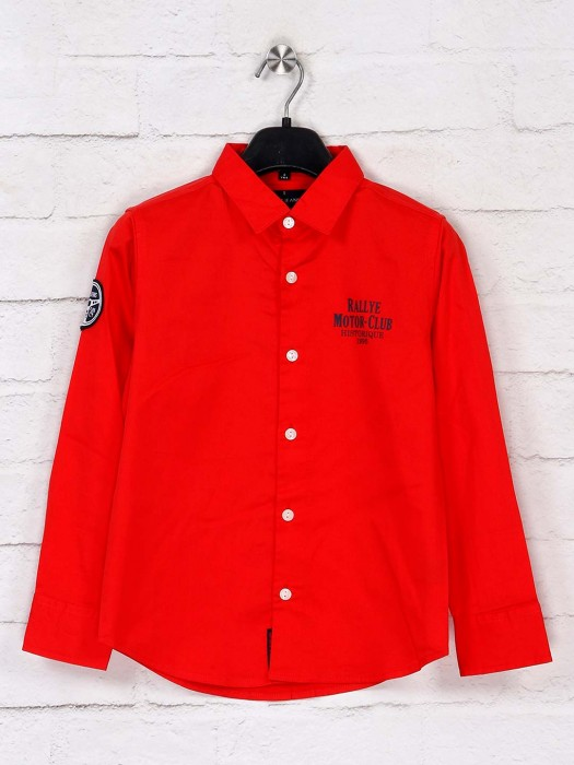Ruff Latest Solid Red Cotton Shirt