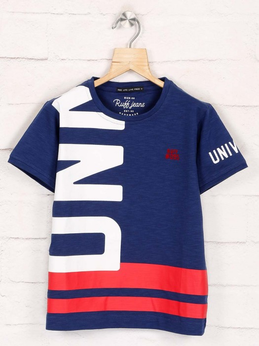 Ruff Navy Printed Latest T-shirt