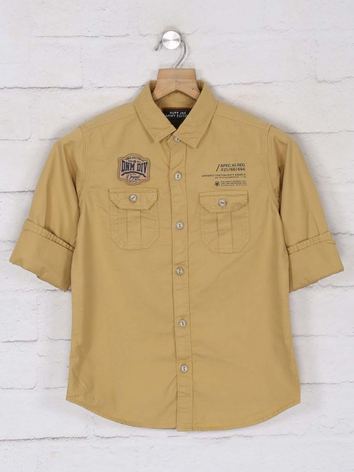 Ruff Presented Beige Solid Shirt