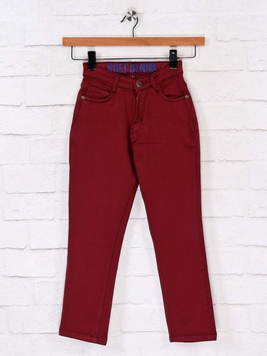 Ruff Presented Maroon Solid Jeans