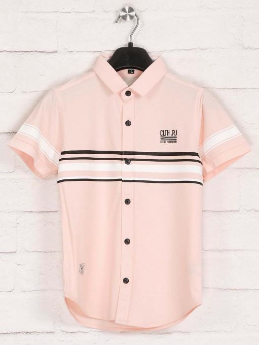 Ruff Presented Peach Cotton Stripe Shirt