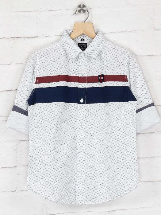 Ruff Printed Casual Wear White Shirt