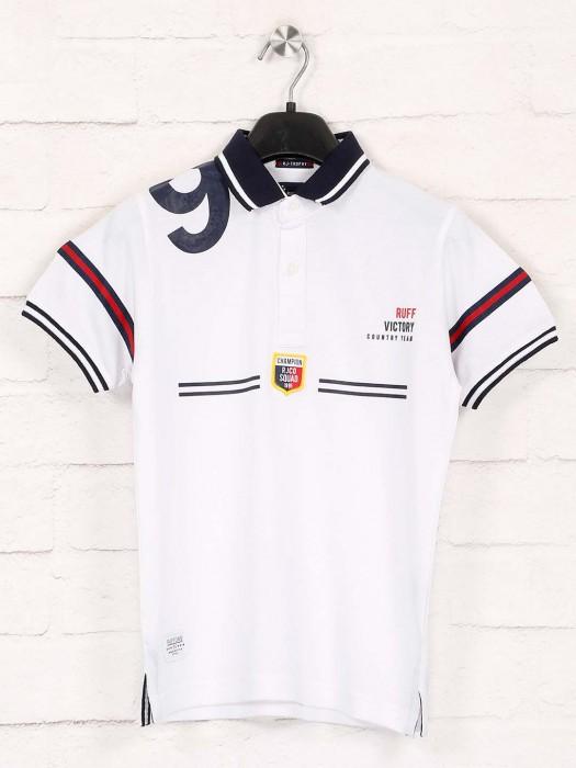 Ruff Printed White Short Buttoned T-shirt