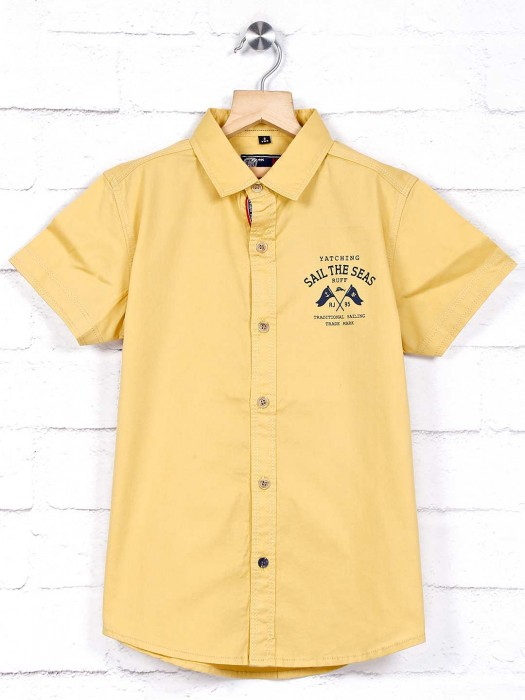 Ruff Solid Yellow Cotton Boys Shirt